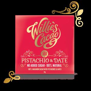 Willie's Cacao - 100% chokolade m/Pistacier, Cashewnødder & Dadler 50g